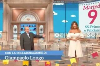 """""""È virginale, almeno nell'abito"""", Giancarlo Magalli a Roberta Morise che incassa con eleganza"""