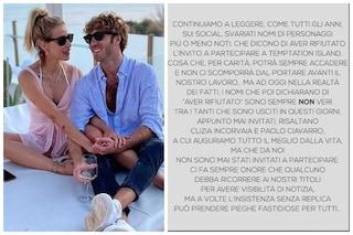 """Temptation Island: """"Clizia Incorvaia e Paolo Ciavarro? Mai invitati"""". Lei: """"Sono stata fraintesa"""""""