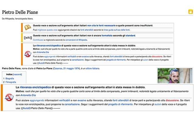 La pagina Wikipedia di Pietro con l'alert che rimanda a una delle modifiche subite