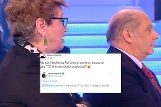 """Il marito di Mara Maionchi: """"Un sacco di gay su Rai1"""", lei lo sgrida: """"Ma che caz... dici?"""""""
