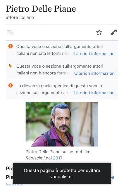 Wikipedia blocca le modifiche alla pagina di Pietro Delle Piane
