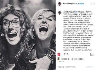 """Nina Palmieri: """"Ti vedo e piango in silenzio. Oggi ti festeggiamo, tanto bene ovunque tu sia"""""""