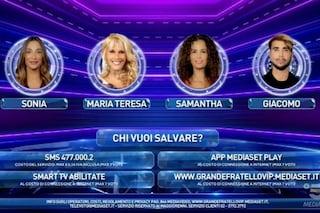 Gf Vip: Samantha De Grenet, Sonia Lorenzini, Maria Teresa Ruta e Giacomo Urtis in nomination