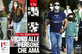 Silvia Toffanin e Piersilvio Berlusconi passeggiano con i figli, le rare foto di famiglia