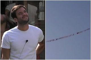 Giulia Salemi dice ti amo a Pierpaolo Pretelli con un aereo, il video della reazione del gieffino