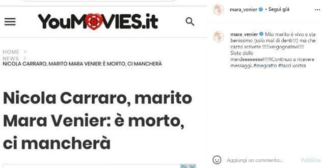 Il post di Mara Venier che smentisce la fake news