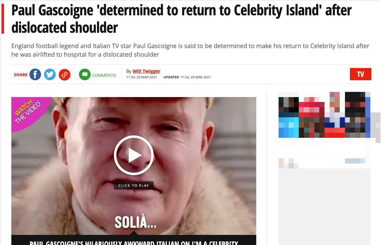 Paul Gascoigne determinato nel voler tornare sull'Isola (The Mirror)