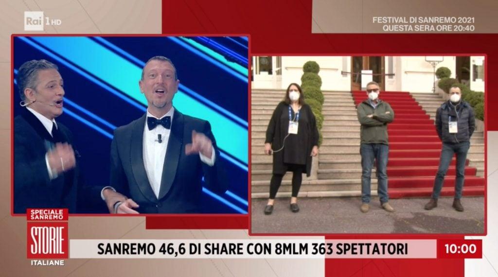 L'annuncio dei dati di ascolto a Storie Italiane