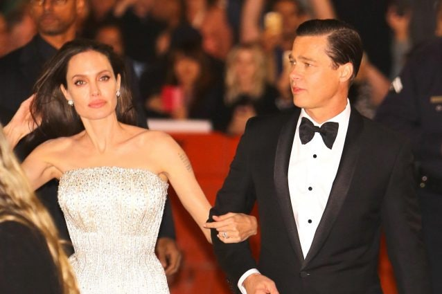 "Angelina Jolie e Brad Pitt nel 2015 alla premier di ""By the Sea""."