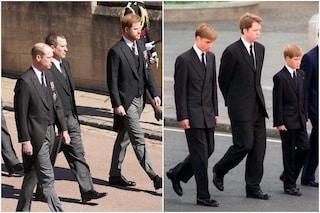 Funerali del Principe Filippo, Harry e William distanti durante il corteo funebre e in chiesa