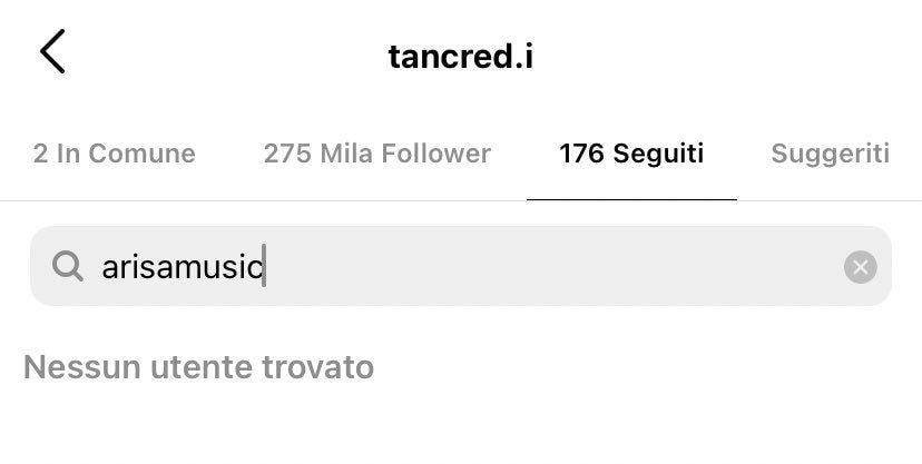 Il profilo di Arisa non compare tra quelli seguiti da Tancredi