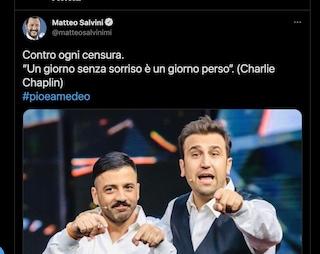 """Salvini sta con Pio e Amedeo: """"Contro ogni censura"""""""