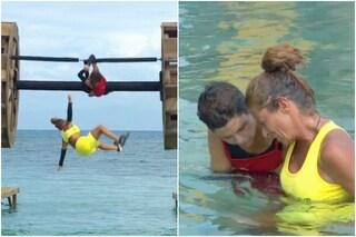 Valentina Persia cade in acqua e si fa male alla gamba, la preoccupazione di Ilary Blasi