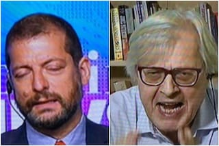 """Lite Vittorio Sgarbi contro Andrea Romano sul green pass: """"Imbecille, bugiardo, coglio*e"""""""