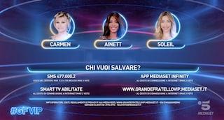 Grande Fratello Vip 2021, eliminata Raffaella Fico: in nomination Ainett, Soleil e Carmen Russo