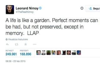 """Nimoy prima di morire: """"La vita è un giardino, i bei momenti non restano che in memoria"""""""