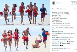 Stupenda caduta di Zac Efron sul set di Baywatch, l'attore pubblica la foto su Instagram