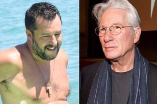 """Salvini: """"Sono imbarazzato per Richard Gere, metta a disposizione i suoi milioni per gli italiani"""""""