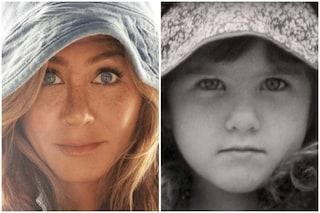 """Jennifer Aniston oggi e da bambina, la foto su Instagram: """"Con stile allora e adesso"""""""