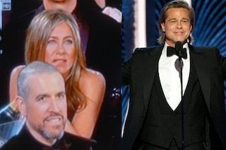 Golden Globe, Brad Pitt vince e inquadrano l'ex Jennifer Aniston: la faccia di lei è virale