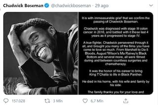 L'ultimo tweet di Chadwick Boseman è quello con più like nella storia di Twitter