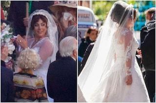 Lady Gaga in abito da sposa in House of Gucci, le nuove foto dal set a Roma