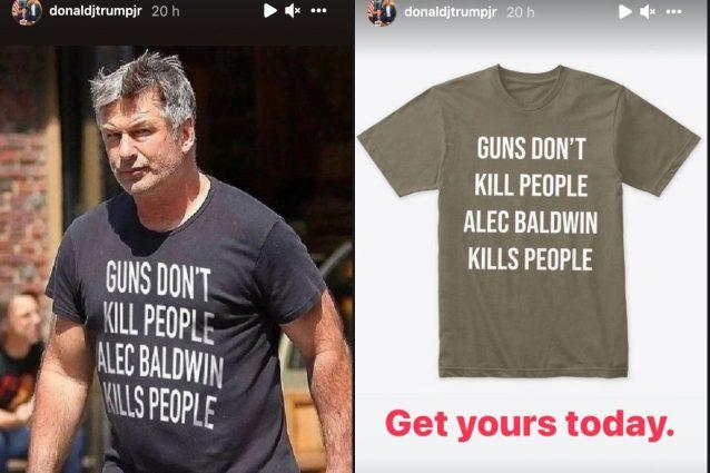 """""""Baldwin uccide"""", il figlio di Donald Trump vende magliette contro l'attore dopo la tragedia"""