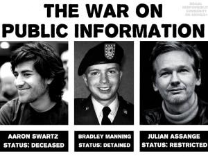 Aaron Swartz, Bradely Manning (oggi Chelsea) e Julian Assange