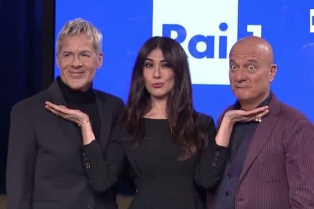 Sanremo 2019. Claudio Baglioni, Virginia Raffaele e Claudio Bisio