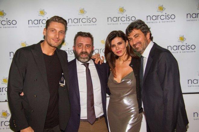 Il modello Gennaro Lillio, con l'imprenditore dei Centri Narciso Nicola Diomaiuta, l'attrice Giovanna Rei e Vincenzo Ferrara per la Fondazione