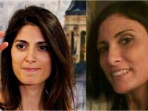 Nella foto a sinistra Virginia Raggi. A destra, la sua sosia