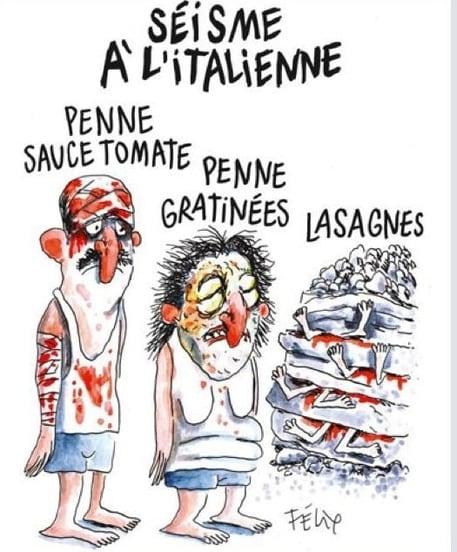 La vignetta sul terremoto in Italia pubblicata da Charlie Hebdo