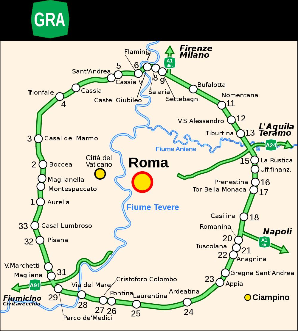 Mappa del Grande Raccordo Anulare di Roma (Ingrandisci qui).