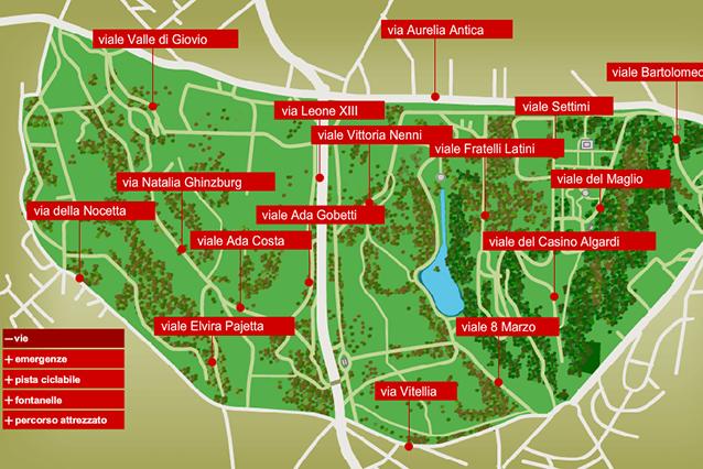 Mappa interattiva di Villa Doria Pamphilij (sito ufficiale).
