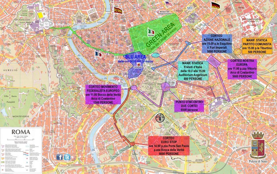 Manifestazioni e zone interdette sabato 25 marzo a Roma