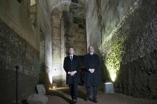 Il presidente della Repubblica francese Emmanuel Macron e il presidente del Consiglio Paolo Gentiloni visitano la Domus Aurea, l'enorme e sontuosa villa dell'imperatore Nerone.