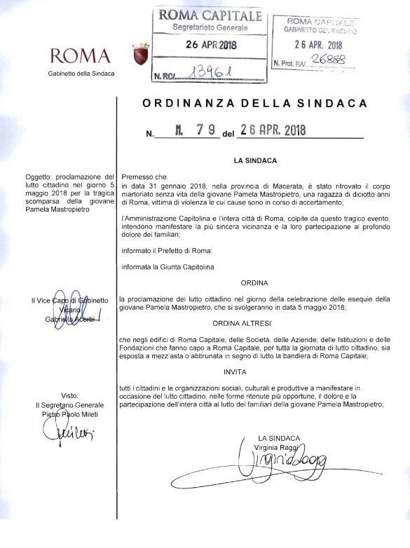 L'ordinanza firmata dalla sindaca di Roma, Virginia Raggi