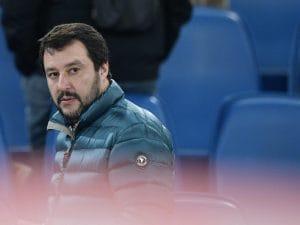 Il ministro degli Interni Matteo Salvini allo stadio Olimpico