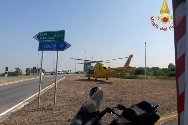 L'intervento dell'elicottero