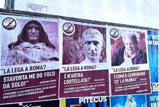 """Manifesti contro la manifestazione della Lega: """"Salvini a Roma? Come na carbonara co' la panna"""""""