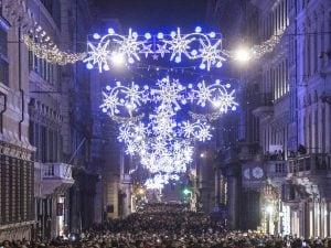 Le luminarie di via del Corso a Roma, firmate Acea