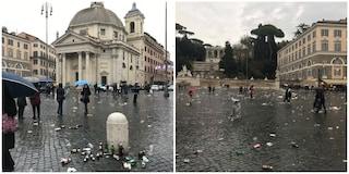 Lazio-Eintracht, bottiglie rotte e cartacce: così i tifosi tedeschi hanno ridotto piazza del Popolo
