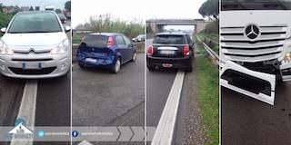 Tamponamento a catena su via Pontina: coinvolti un tir e tre auto, traffico da incubo verso Roma