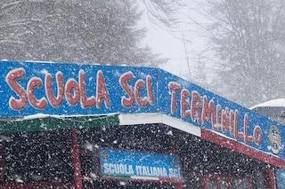 Sul Terminillo continua a cadere la neve, ma le piste restano chiuse