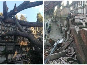 I danni provocati dal maltempo nel febbraio del 2019 all'interno del cimitero del Verano