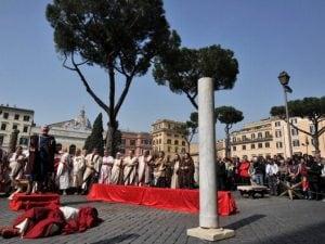Rievocazione storica a . Largo Argentina, Roma