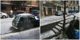 Grandine a Roma: le strade si imbiancano