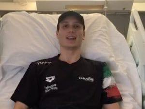 Manuel Bortuzzo, il video dalla clinica riabilitativa Santa Lucia di Roma.