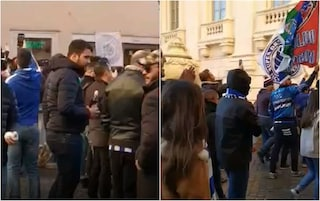 Roma-Porto, i tifosi portoghesi sfilano a Fontana di Trevi tra birra e cori