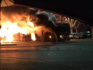 Autobus Atac in fiamme a piazzale Clodio, Roma